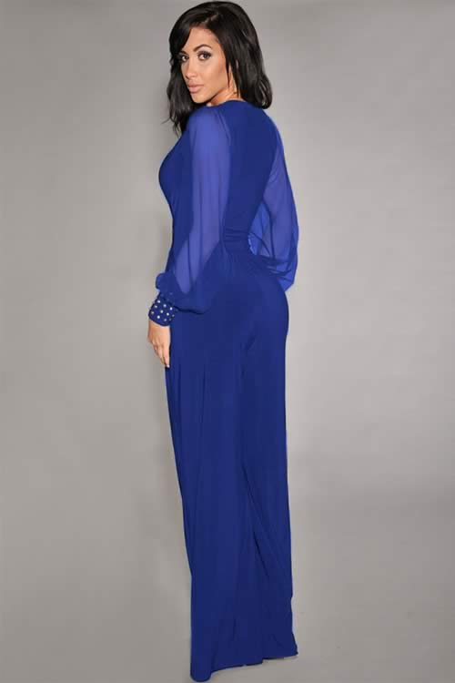 Stud Cuffs Mesh Long Sleeve Wide Leg Jumpsuit in Blue