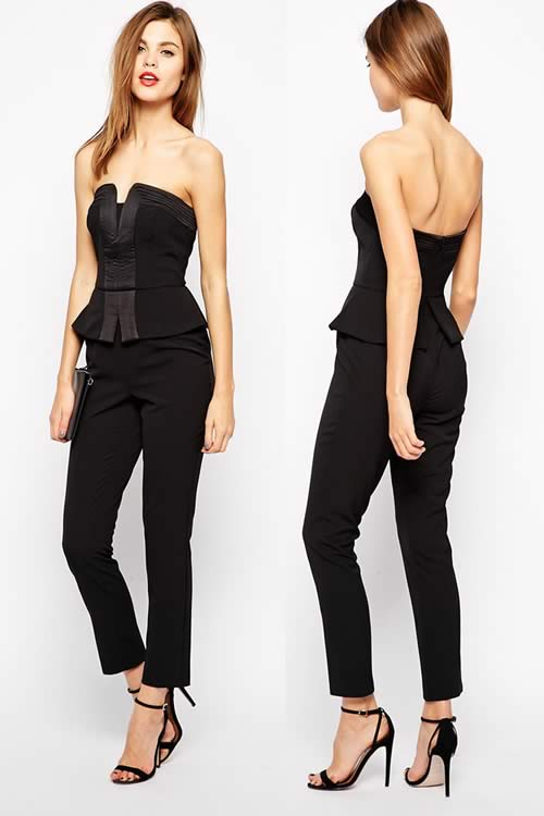 Sleeveless Off Shoulder Peplum Corset Jumpsuit in Black
