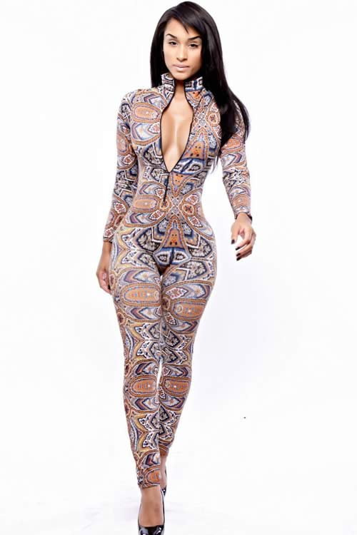Long Sleeve Tribal Printed Skinny Leg Jumpsuit