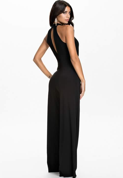 Sleeveless Cut out High Neck Wide Leg Jumpsuit in Black