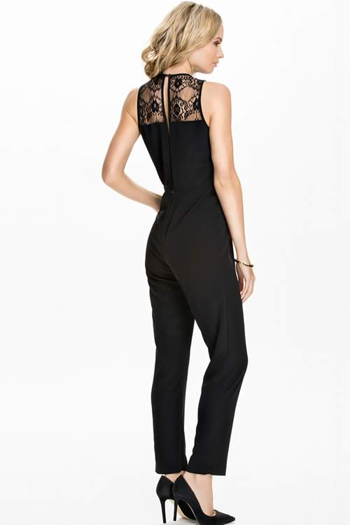 Sleeveless Plunging V Neck Lace Inlay Jumpsuit in Black