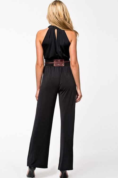 Sleeveless Halter Neck Belted Wide Leg Jumpsuit in Black