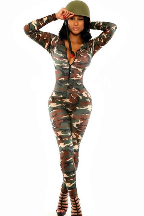 Long Sleeve front Zipper Army Soldier Camo Jumpsuit