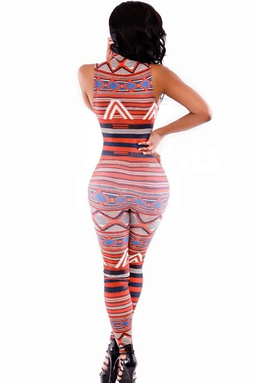 Sleeveless Striped Tribal Printed Bodycon Jumpsuit