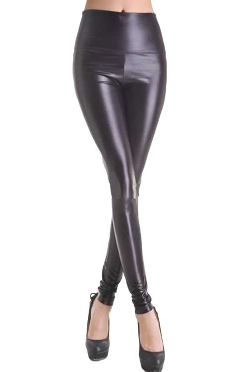 Shiny Black Faux Leather Leggings for Women
