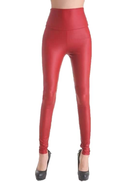 Shiny Red Faux Leather Leggings for Women
