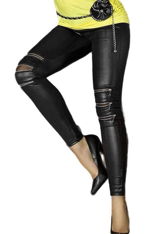 Black Ripped Faux Leather Leggings with Zip-front