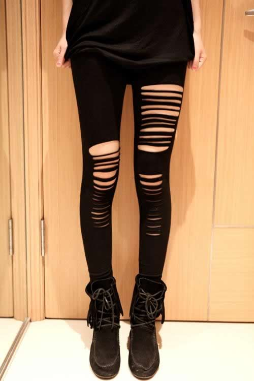 Women Punk Cut Out Ripped Leggings in Black