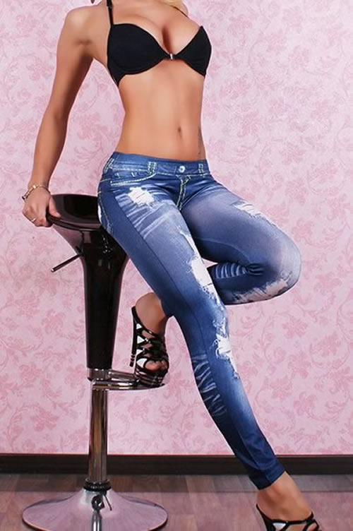 Blue Leggings Pants Ripped Jeans for Women