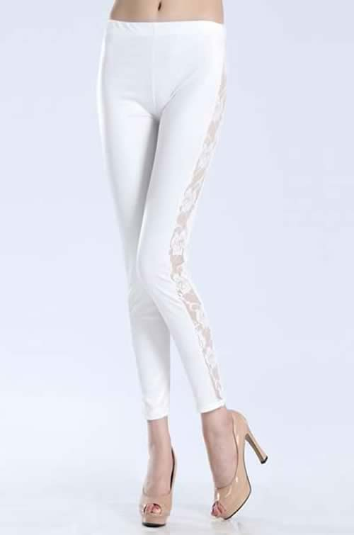 White Wet Look Lace Leggings Tights Pants