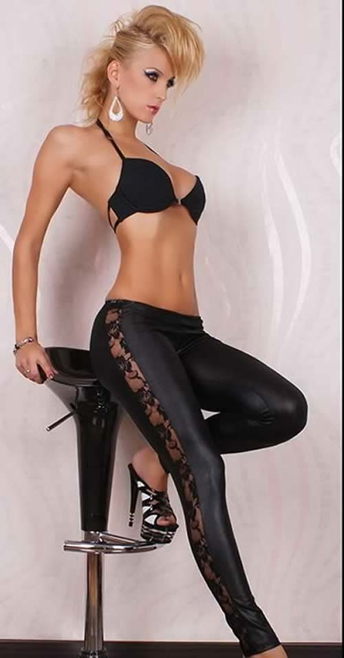 Black Wet Look Lace Leggings Tights Pants