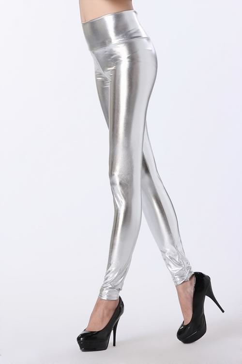 Shining Silver High Waist Leather Leggings for Women