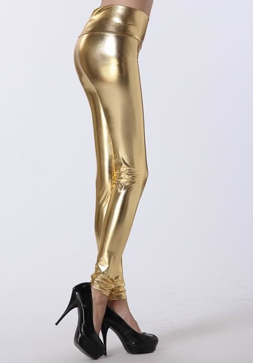 Shining Gold High Waist Leather Leggings for Women