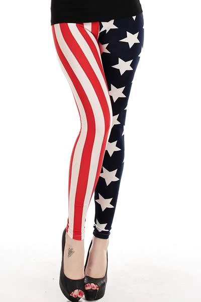 American Flag Stars and Stripes Leggings