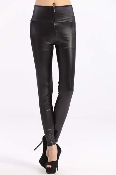 Black High Waist Faux Leather Leggings with Zip