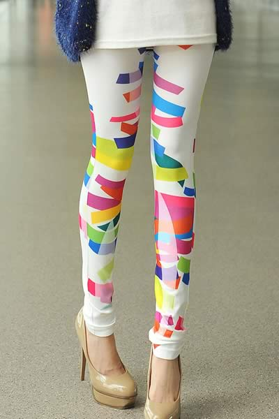 White Stretch Irregular Pattern Printed Leggings