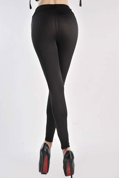 Black High Waist Metallic Leather Seamed Leggings