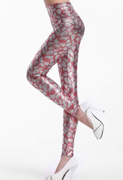 Women High Waist Snakeskin Leggings in Pink