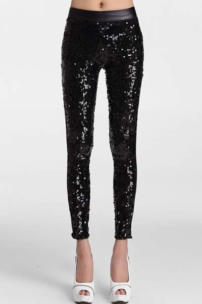 Women Sequin Front PU Leggings Pants in Black