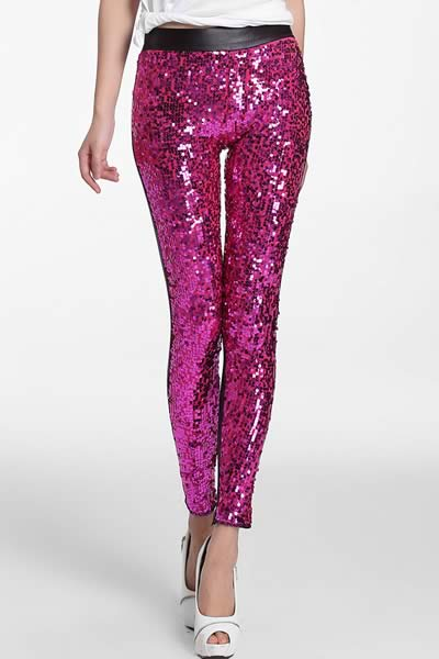 Women Sequin Front PU Leggings Pants in Rosy