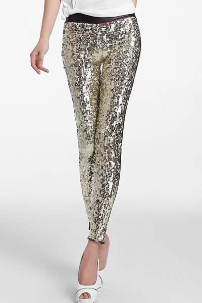 Women Sequin Front PU Leggings Pants in Gold