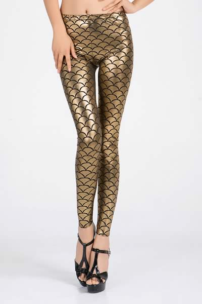 Gold Metallic Fish Scale Leggings for Women