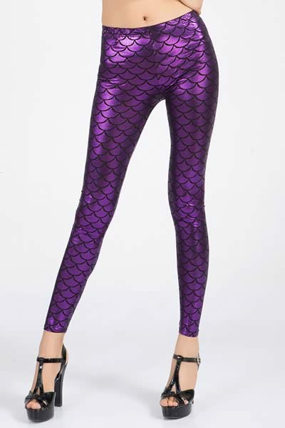 Purple Metallic Fish Scale Leggings for Women