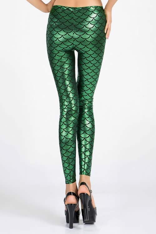 Dark Green Metallic Fish Scale Leggings for Women