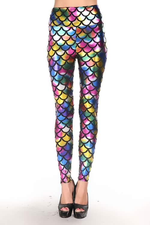 Metallic Rainbow Fish Scales Leggings High Waisted Pants