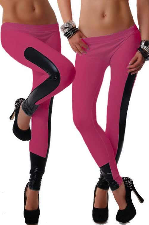 Rosy Faux Leather Stretch Leggings for Women