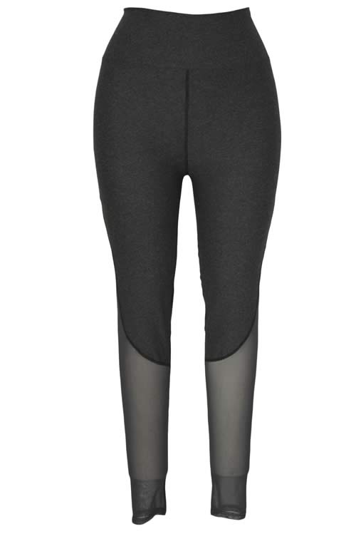 Grey Mesh Slimming Sports Yoga Pants for Women