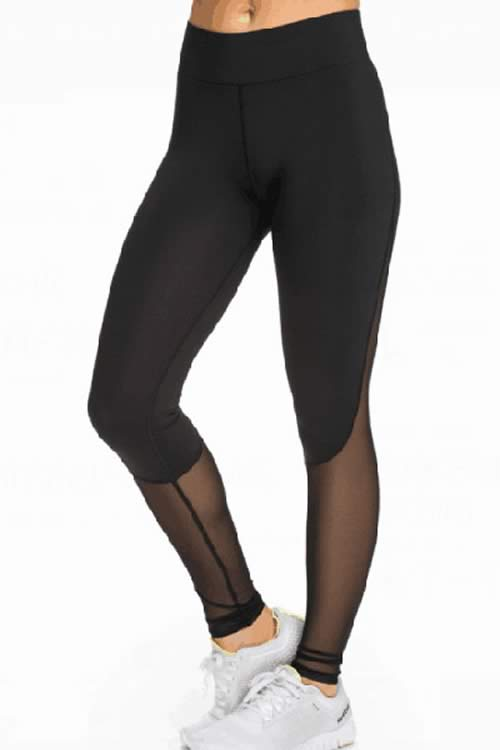 Black Mesh Slimming Sports Leggings for Women