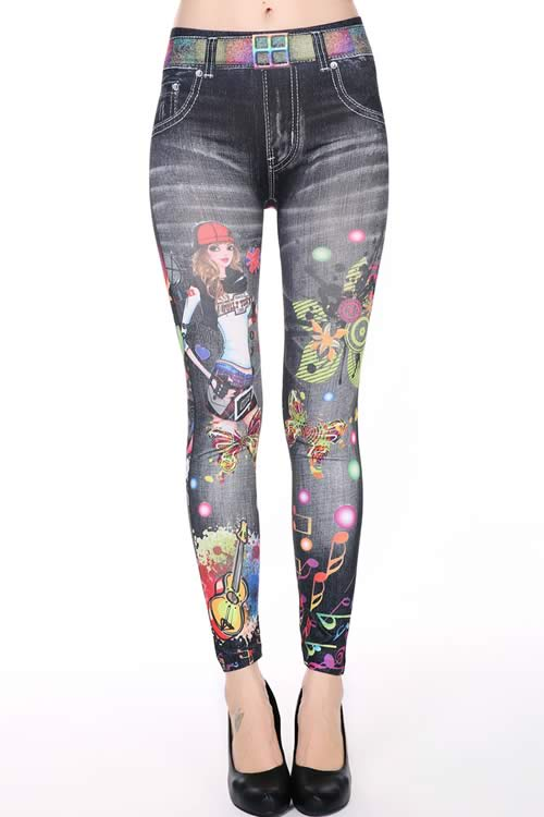 Fashion Music Girls Dreamy Printed Denim Leggings