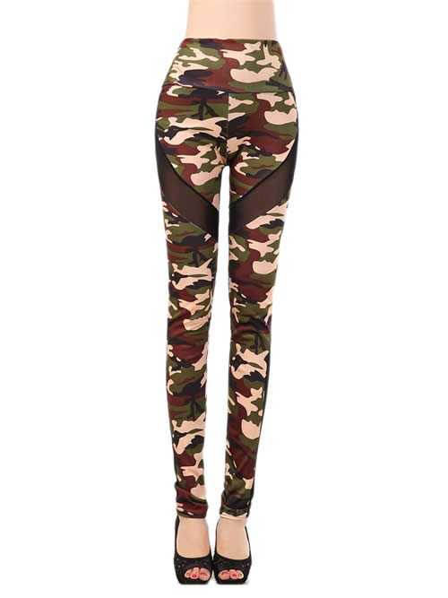 Sheer Mesh Camo Leggings for Women