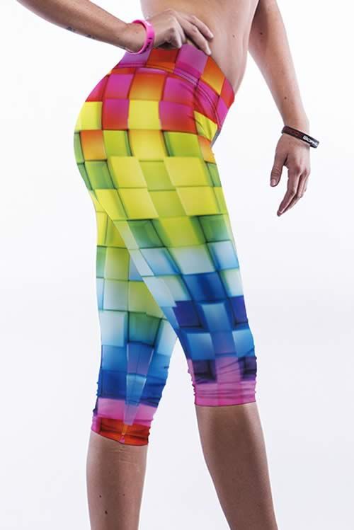 Colorful Plaid Print Yoga Leggings for Women