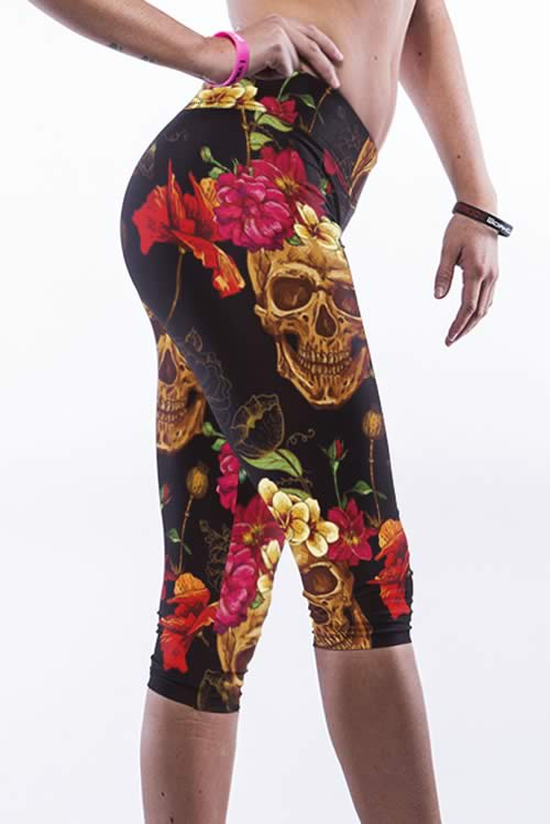 Stretch Multicolor Flower Skull Yoga Pants