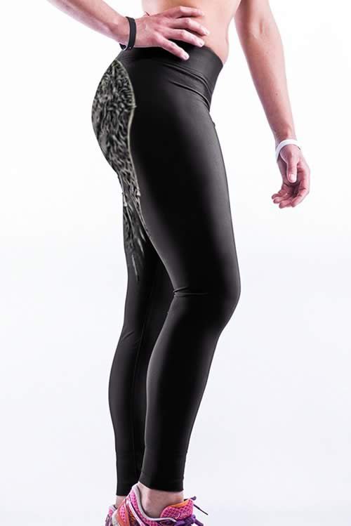 Black Stretchy Angel Wings Yoga Pants for Women
