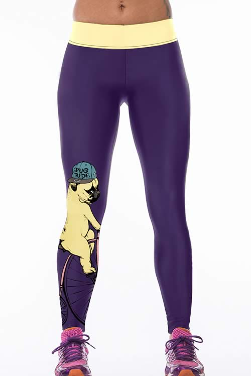 Women Purple Puppy Digital Print Yoga Pants