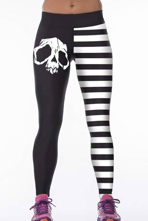 Elastic White Stripe Skull Sports Yoga Pants