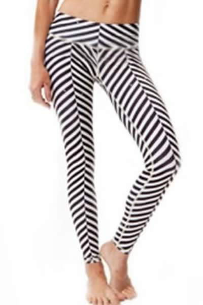 Stretchy White Stripes Sport Yoga Leggings for Women