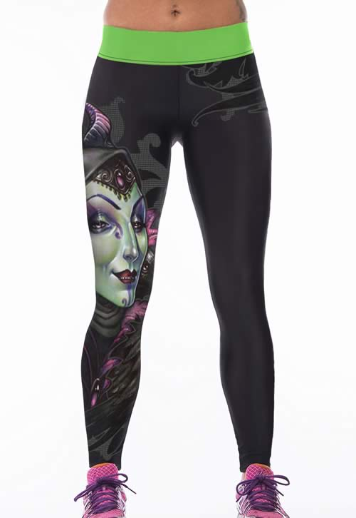 Women Banshee Print Black Stretch Yoga Pants