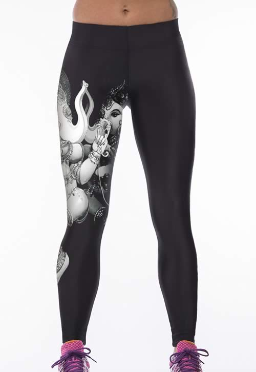Black Buddha Elephant Print Stretch Yoga Pants