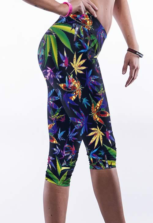Colorful Maple Leaves Print Yoga Pants