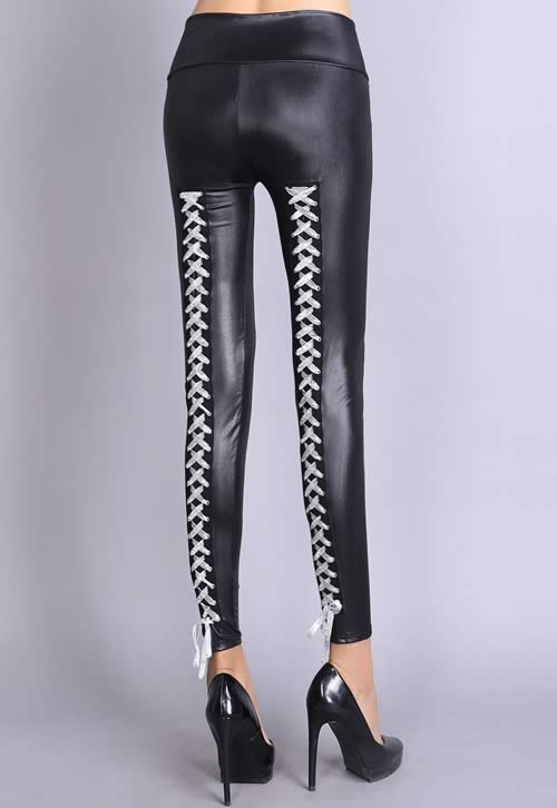 Silver Lace Up Stretch Leather Leggings for Women