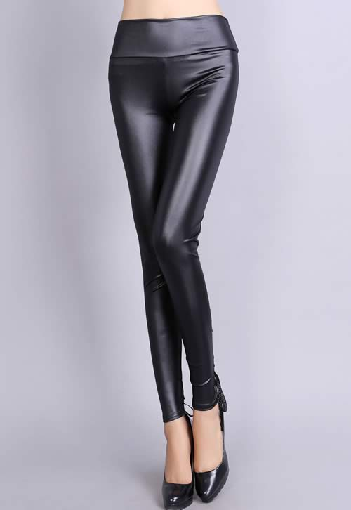 Black Lace Up Stretch Leather Leggings for Women