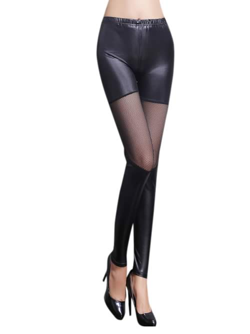 Women Sheer Mesh Insert Faux Leather Leggings