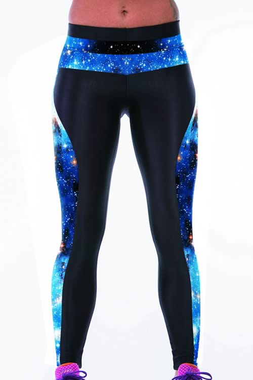 Blue Galaxy Printed Tight Sport Yoga Pants