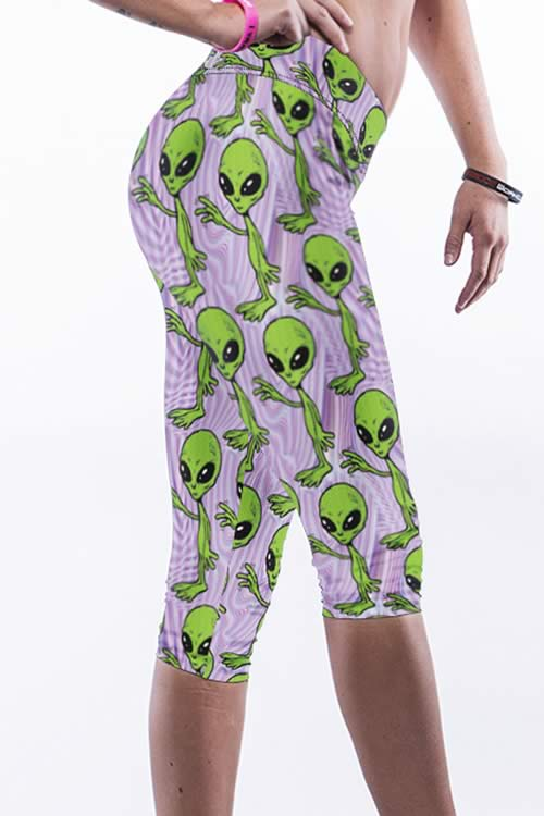 Green Alien Printed Sports Yoga Leggings for Women