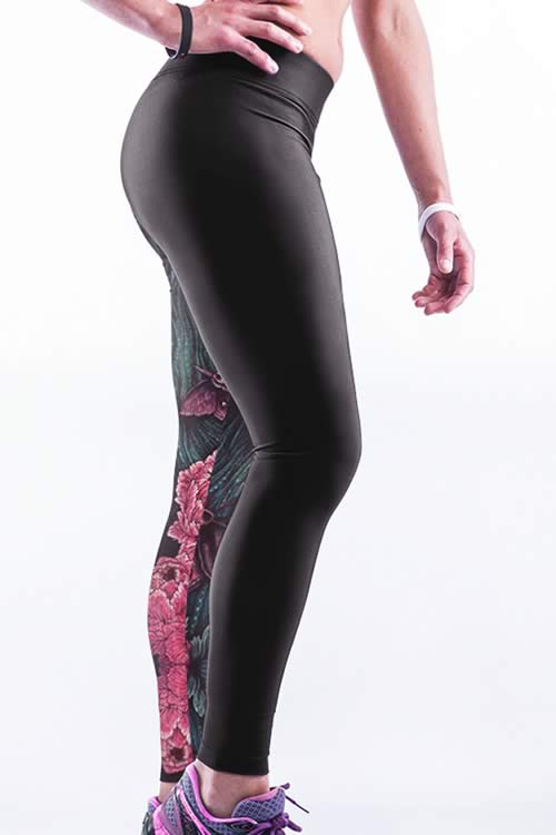 Wolf and Flower 3D Printed Yoga Leggings for Women