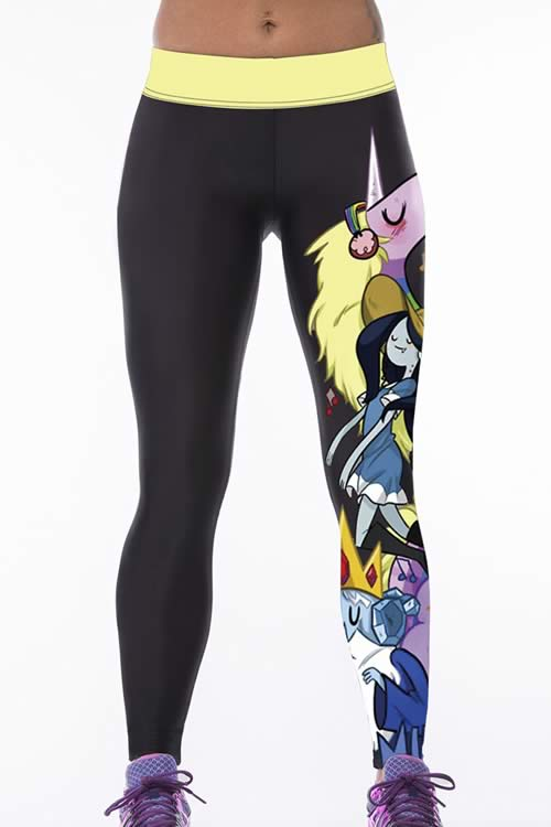 Black Cartoon 3D Printed Gym Leggings